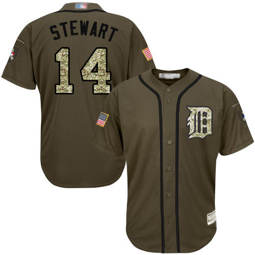 Tigers #14 Christin Stewart Green Salute to Service Stitched Baseball Jersey