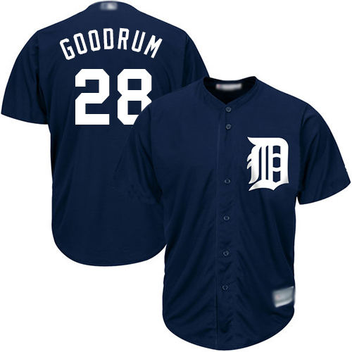 Tigers #28 Niko Goodrum Navy Blue New Cool Base Stitched Baseball Jersey