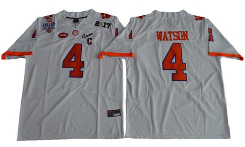 Tigers #4 Deshaun Watson White Diamond Quest Limited Stitched NCAA Jersey