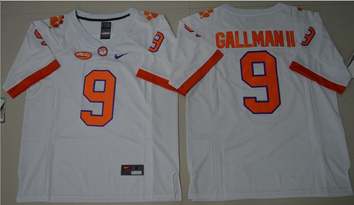 Tigers #9 Wayne Gallman II White Limited Stitched NCAA Jersey