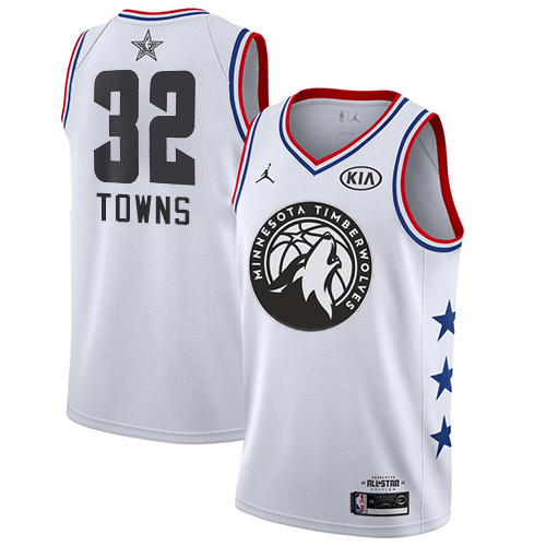 Timberwolves #32 Karl-Anthony Towns White Basketball Jordan Swingman 2019 All-Star Game Jersey