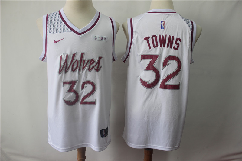 Timberwolves 32 Karl-Anthony Towns White 2018-19 Earned Edition Nike Swingman Jersey