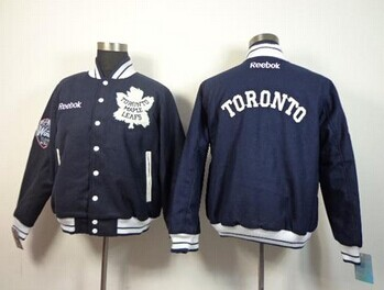 Toronto Maple Leafs Blank Satin Button-Up Navy Blue NHL Jacket