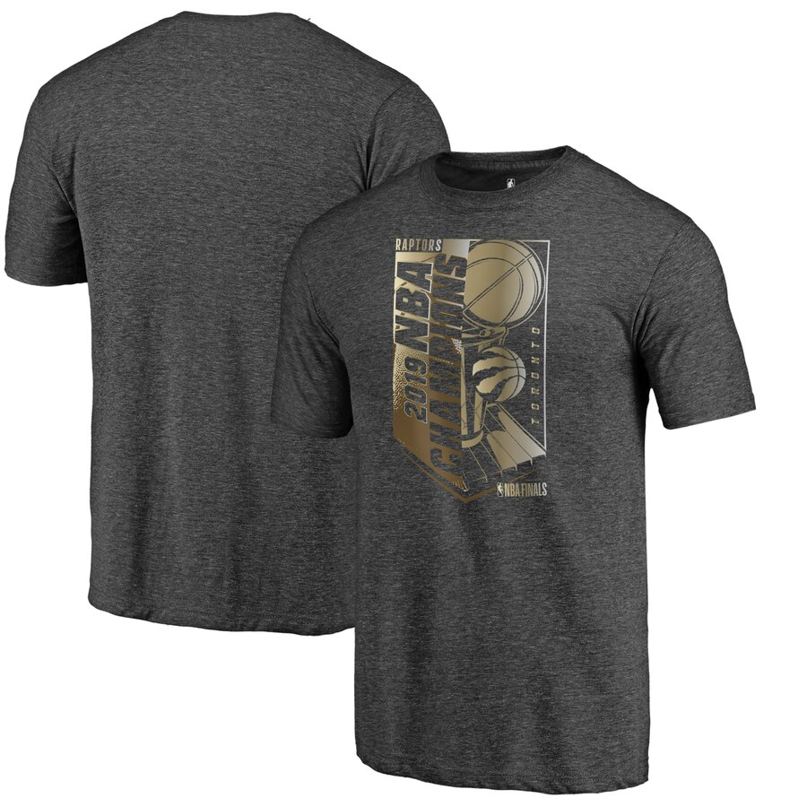 Toronto Raptors Fanatics Branded 2019 NBA Finals Champions Max Bling Gold Luxe T-Shirt Heather Charcoal