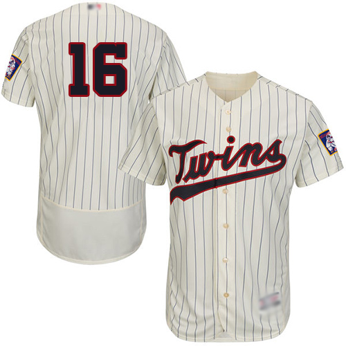 Twins #16 Jonathan Schoop Cream Strip Flexbase Authentic Collection Stitched Baseball Jersey