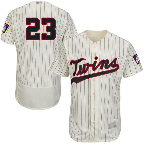Twins #23 Nelson Cruz Cream Strip Flexbase Authentic Collection Stitched Baseball Jersey