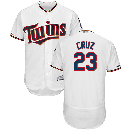 Twins #23 Nelson Cruz White Flexbase Authentic Collection Stitched Baseball Jersey