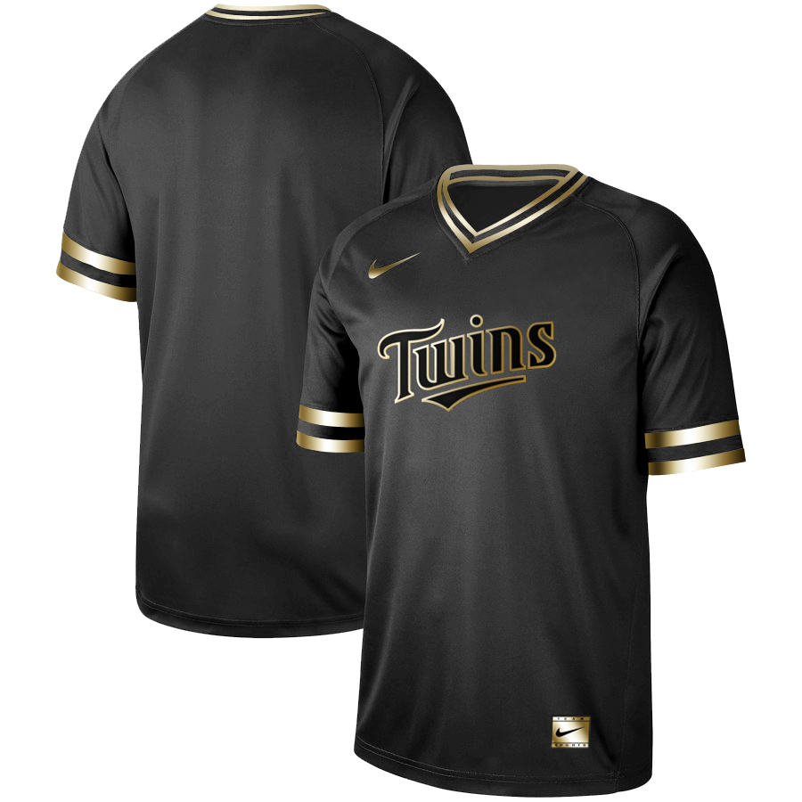 Twins Blank Black Gold Nike Cooperstown Collection Legend V Neck Jersey