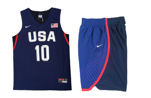 USA 10 Kyrie Irving Navy 2016 Olympic Basketball Team Jersey(With Shorts)