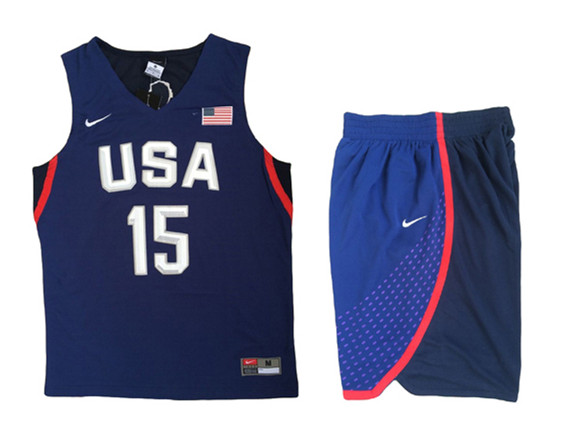 USA 15 Carmelo Anthony Navy 2016 Olympic Basketball Team Jersey(With Shorts)
