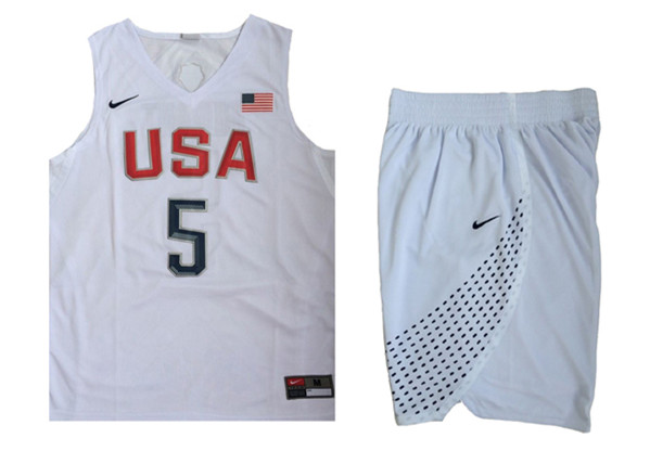 USA 5 Kevin Durant White 2016 Olympic Basketball Team Jersey(With Shorts)