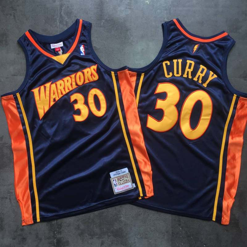 Warriors 30 Stephen Curry Navy 2009-10 Hardwood Classics Jersey
