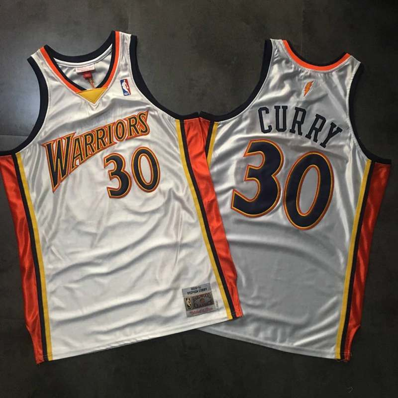 Warriors 30 Stephen Curry White 2009-10 Hardwood Classics Jersey