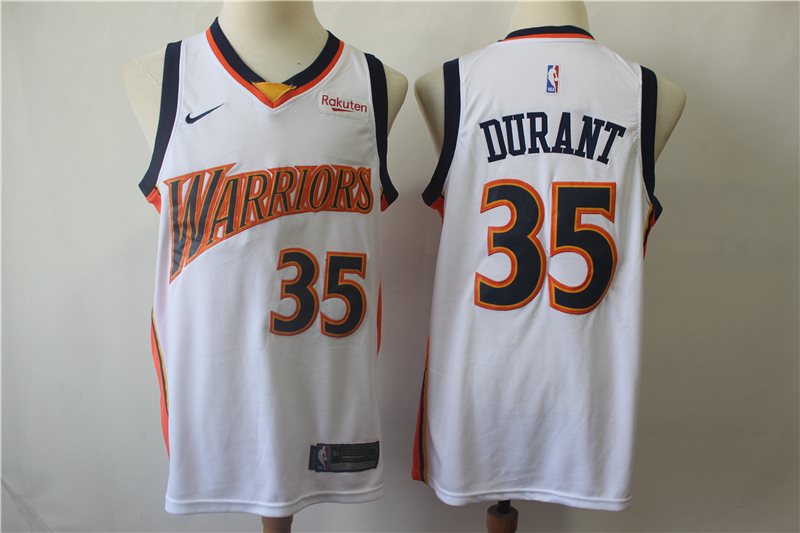Warriors 35 Kevin Durant White Nike Swingman Jersey