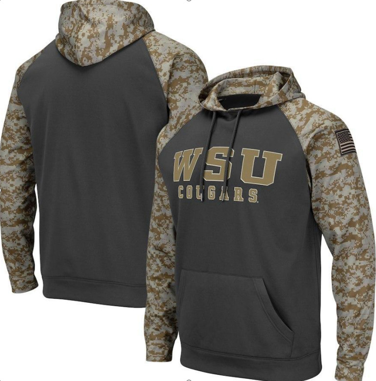 Washington State Cougars Gray Camo Men's Pullover Hoodie