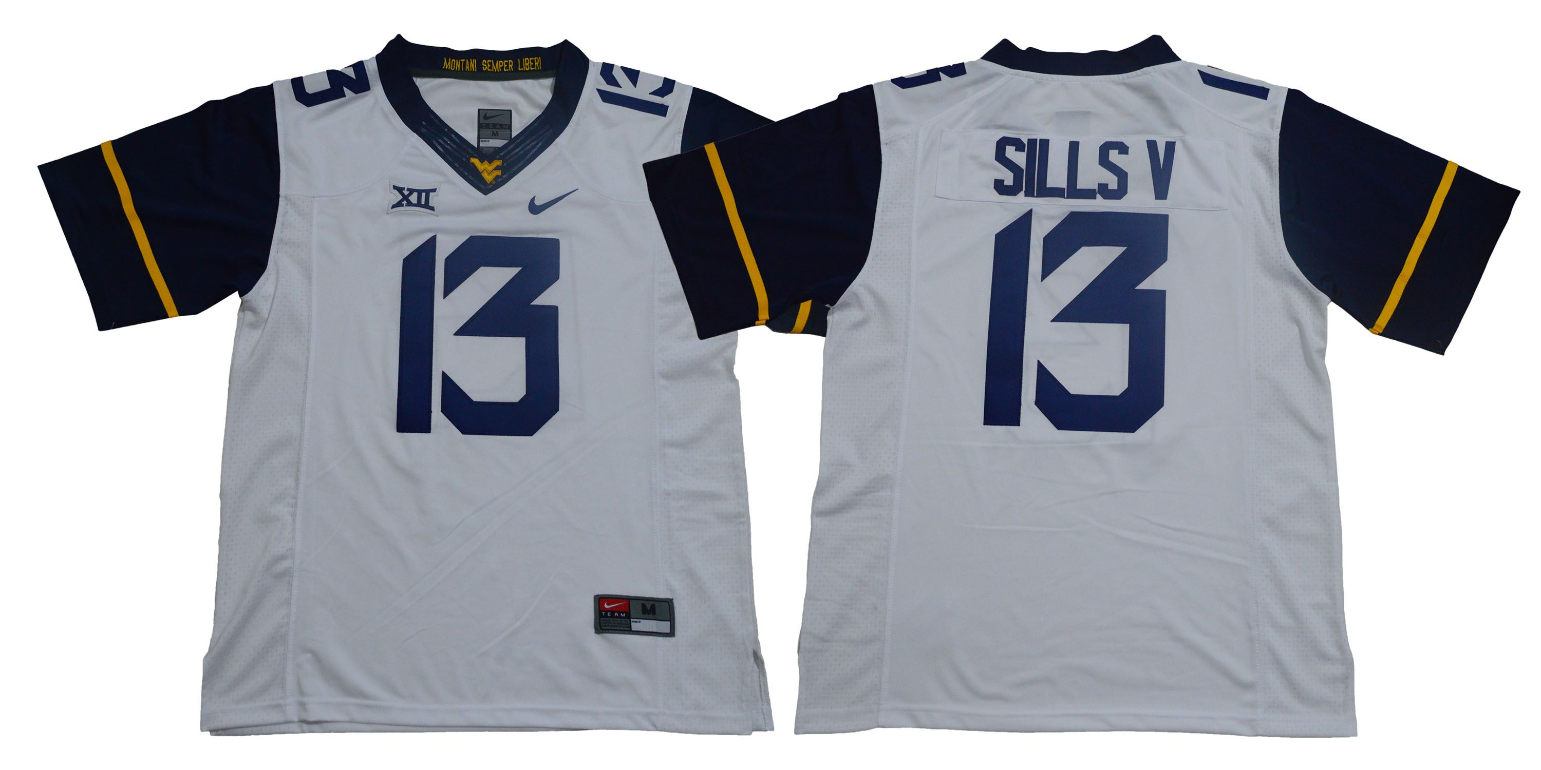 West Virginia Mountaineers 13 David Sills V White Nike College Football Jersey