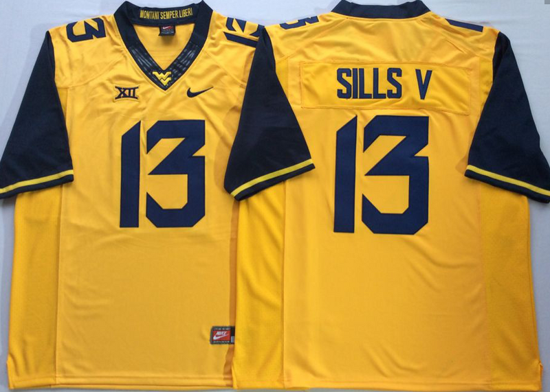 West Virginia Mountaineers 13 David Sills V Yellow College Football Jersey