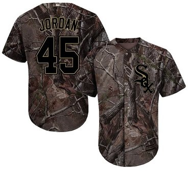 White Sox #45 Michael Jordan Camo Realtree Collection Cool Base Stitched Youth Baseball Jersey