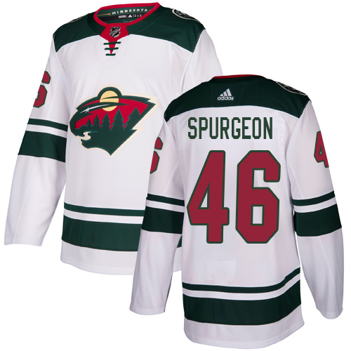 Wild #46 Jared Spurgeon White Road Authentic Stitched Hockey Jersey