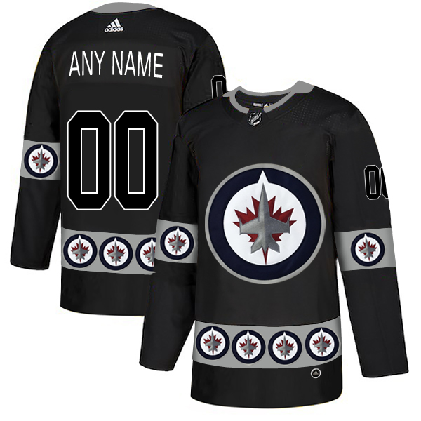 Winnipeg Jets Black Men's Customized Team Logos Fashion Adidas Jersey