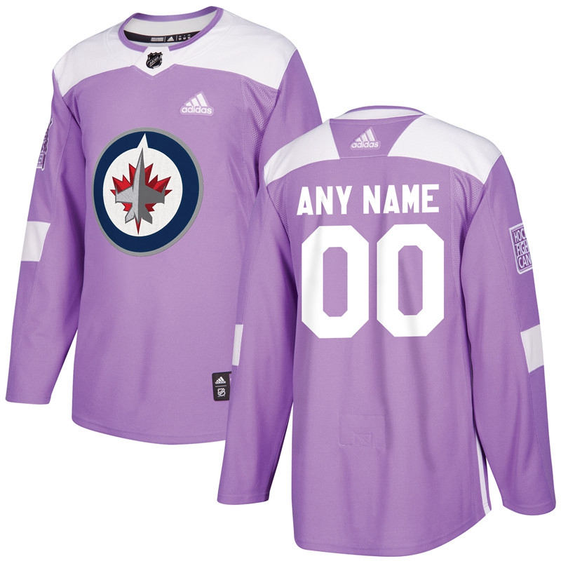 Winnipeg Jets Purple Adidas Hockey Fights Cancer Custom Practice Jersey