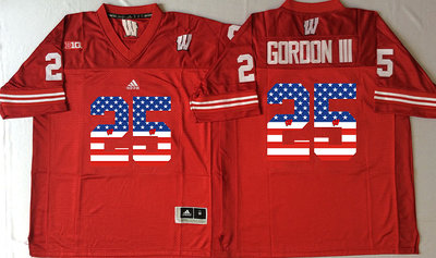 Wisconsin Badgers 25 Melvin Gordon III Red USA Flag College Jersey