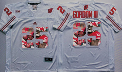 Wisconsin Badgers 25 Melvin Gordon III White Portrait Number College Jersey