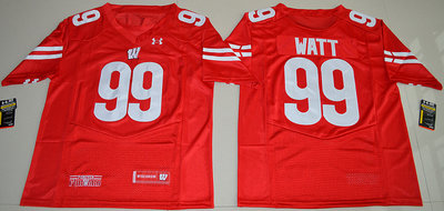 Wisconsin Badgers 99 J.J. Watt Red College Football Jersey