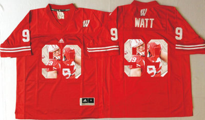 Wisconsin Badgers 99 J.J. Watt Red Portrait Number College Jersey