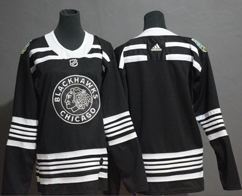Women's Blackhawks Blank Black Authentic 2019 Winter Classic Women's Stitched Hockey Jersey
