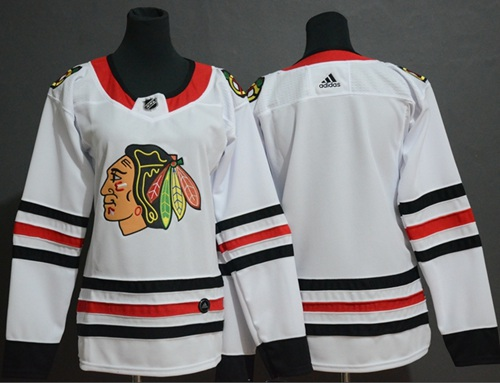 Women's Blackhawks Blank White Road Authentic Women's Stitched Hockey Jersey
