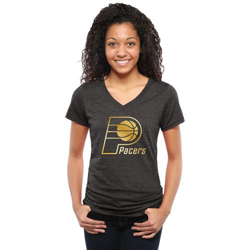 Women's Indiana Pacers Gold Collection V-Neck Tri-Blend T-Shirt Black