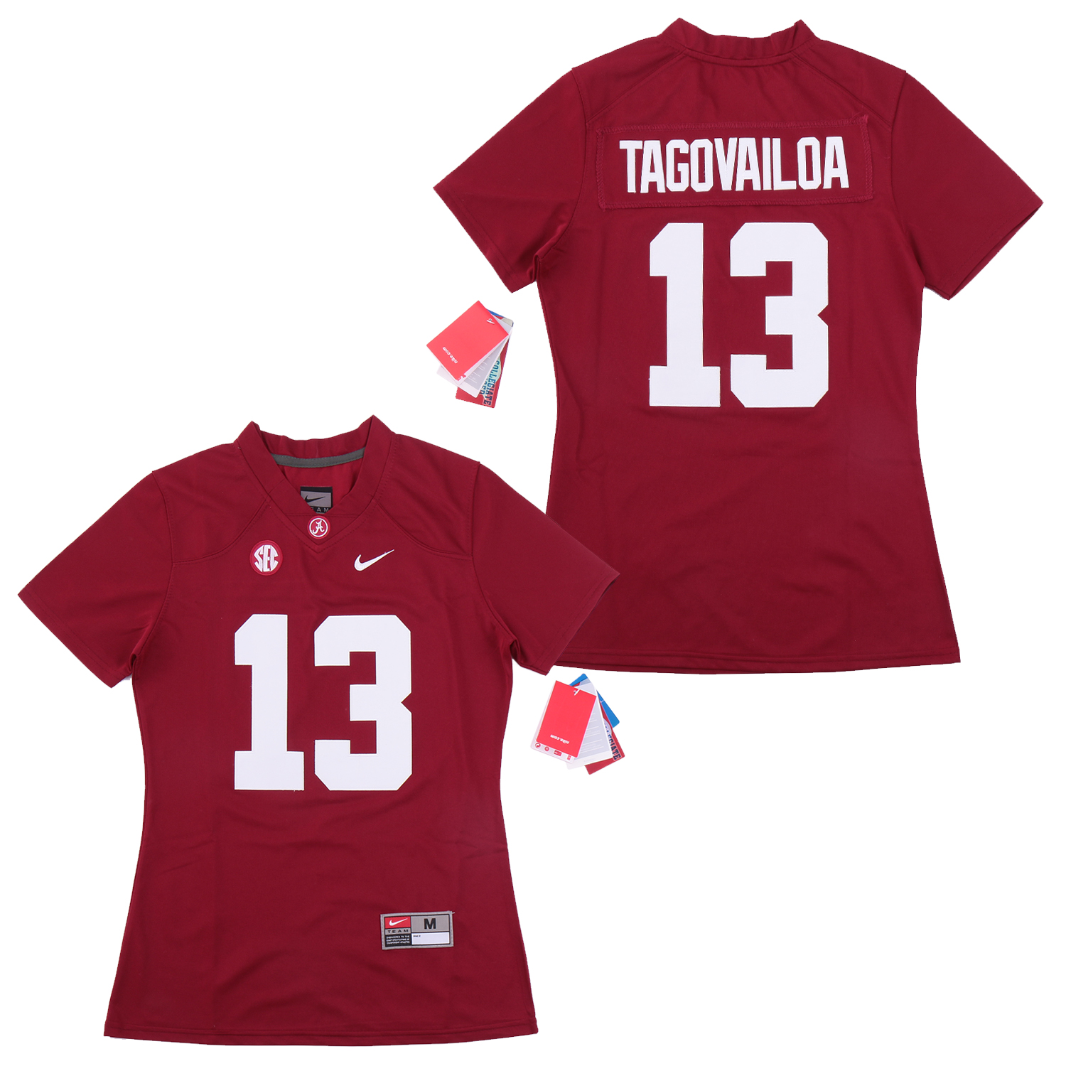 Women Alabama Crimson Tide 13 Tua Tagovailoa Red Women College Football Jersey