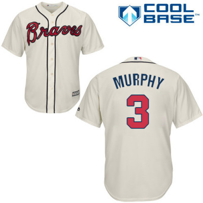 Youth Braves #3 Dale Murphy Majestic Cream Alternate 2 Cool Base Jersey
