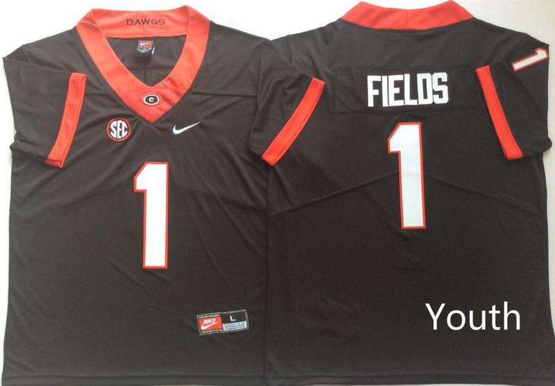 Youth Georgia Bulldogs 1 Justin Fields Black Youth Nike College Football Jersey