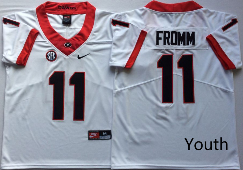 Youth Georgia Bulldogs 11 Jake Fromm White Youth Nike College Football Jersey