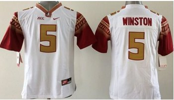 Youth NCAA Seminoles #5 Jameis Winston White Limited Stitched Jersey