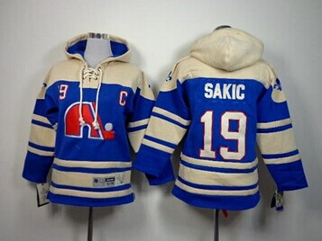 Youth NHL Nordiques #19 Joe Sakic Blue Sawyer Hooded Sweatshirt Jersey