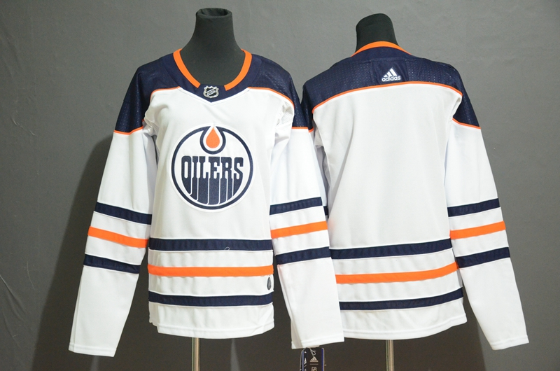 Youth Oilers Blank White Youth Adidas Jersey