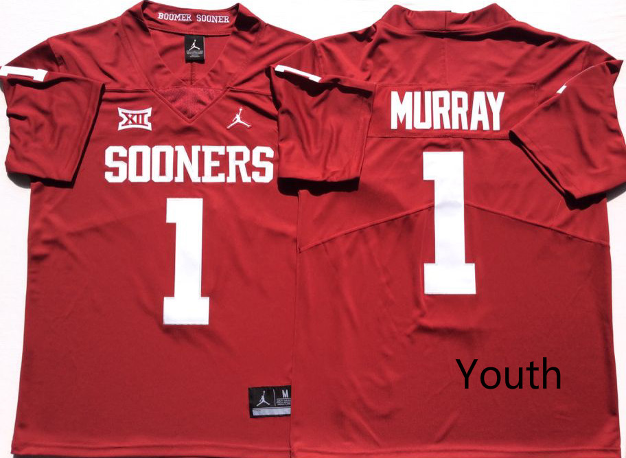 Youth Oklahoma Sooners 1 Kyler Murray Red Youth College Football Jersey