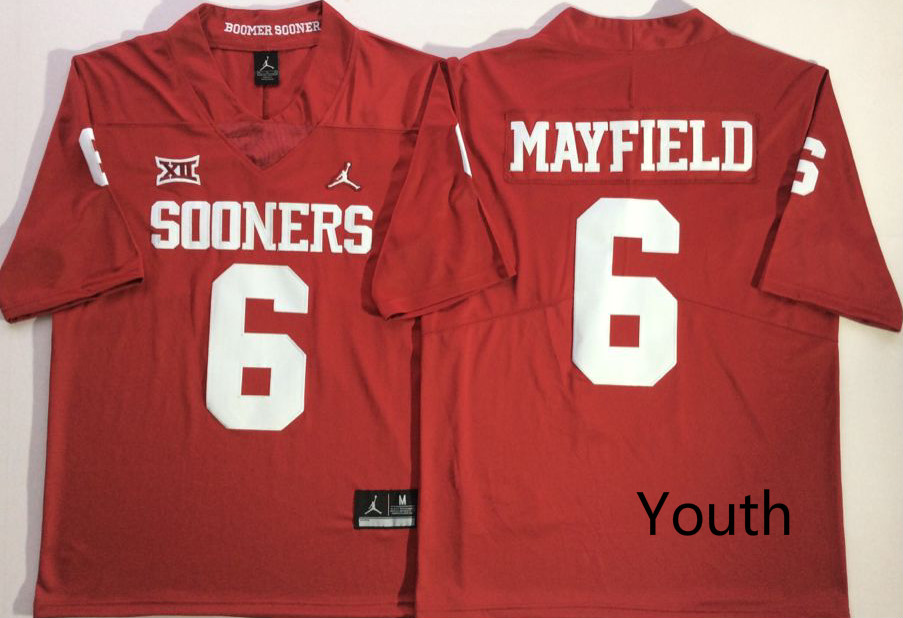Youth Oklahoma Sooners 6 Baker Mayfield Red Youth College Football Jersey