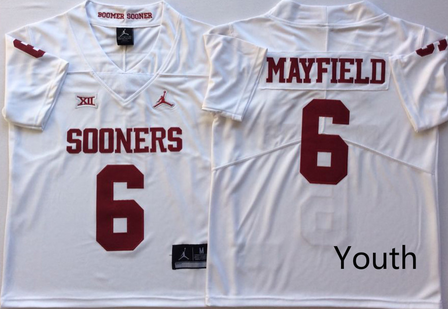 Youth Oklahoma Sooners 6 Baker Mayfield White Youth College Football Jersey