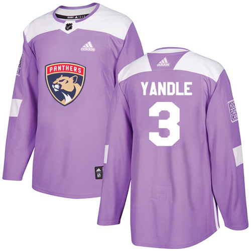 Youth Panthers #3 Keith Yandle Purple Authentic Fights Cancer Stitched Youth Hockey Jersey
