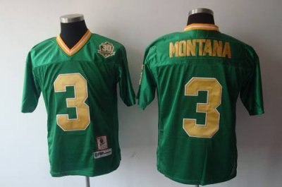 dame #3 joe montana green with 30th patch embroidered ncaa jersey