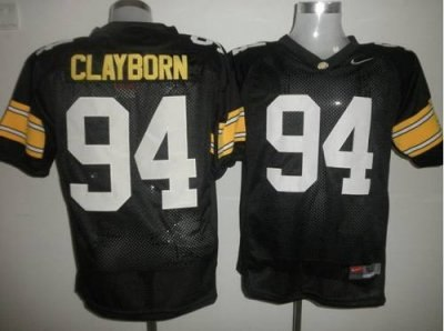 hawkeyes #94 adrian clayborn black embroidered ncaa jersey