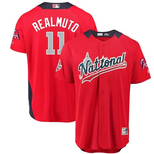 marlins #11 JT Realmuto Red 2018 All-Star National League Stitched Baseball Jersey