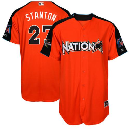 marlins #27 Giancarlo Stanton Orange 2017 All-Star National League Stitched MLB Jersey
