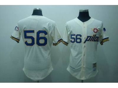 mlb seattle pilots #56 bouton m&n cream jerseys