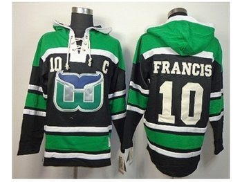 nhl jerseys hartford whalers #10 francis black-green(pullover hooded sweatshirt)(patch C)