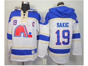 nhl jerseys quebec nordiques #19 sakic white-blue(pullover hooded sweatshirt)(patch C)